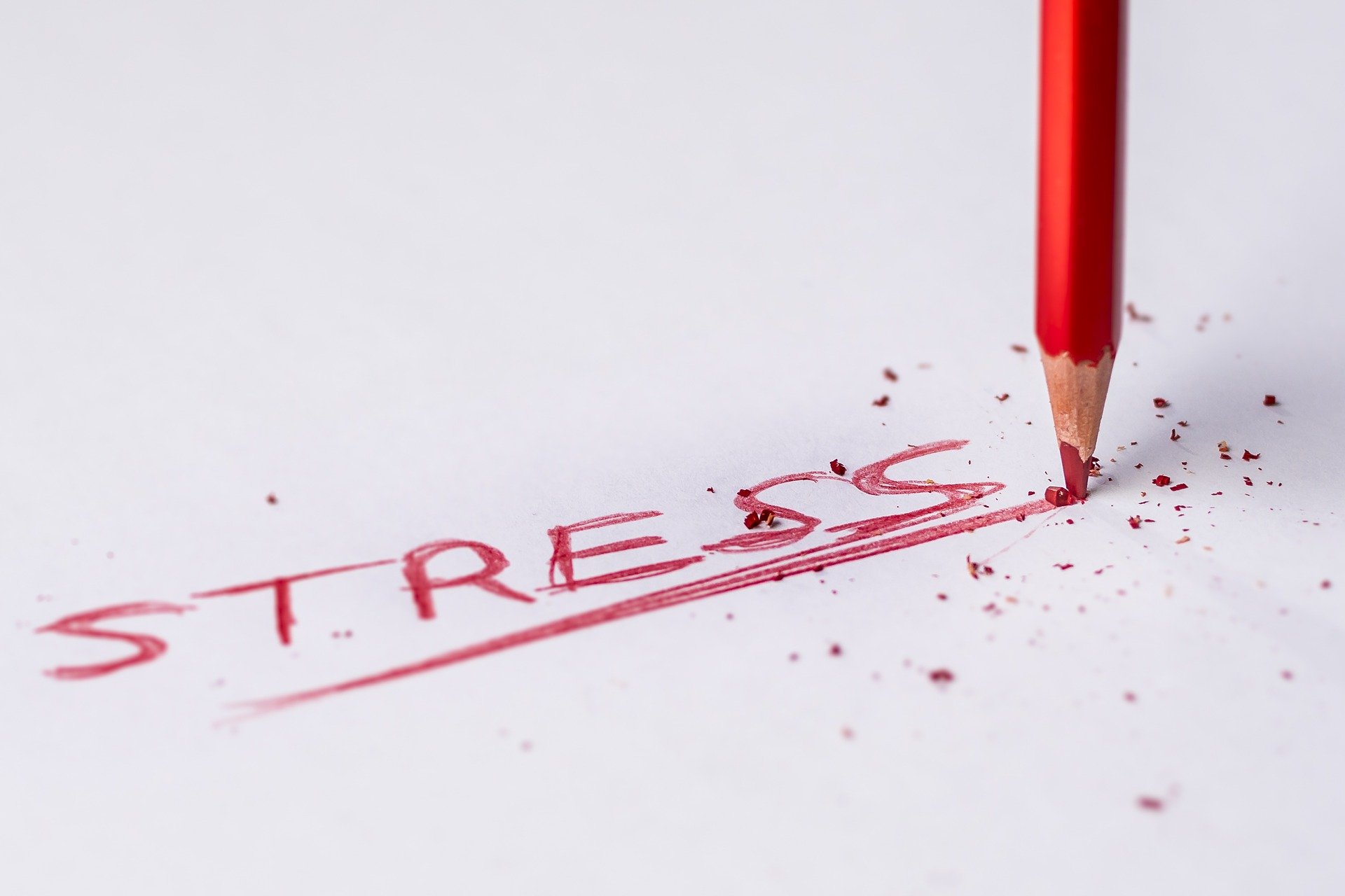 Pencil-writing-the-word-stress